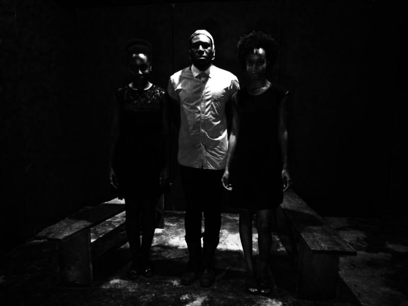 ATW Directors Elisabeth Sutherland (R) and Emelia Asiedu (L) with sound creator Steloo (C)