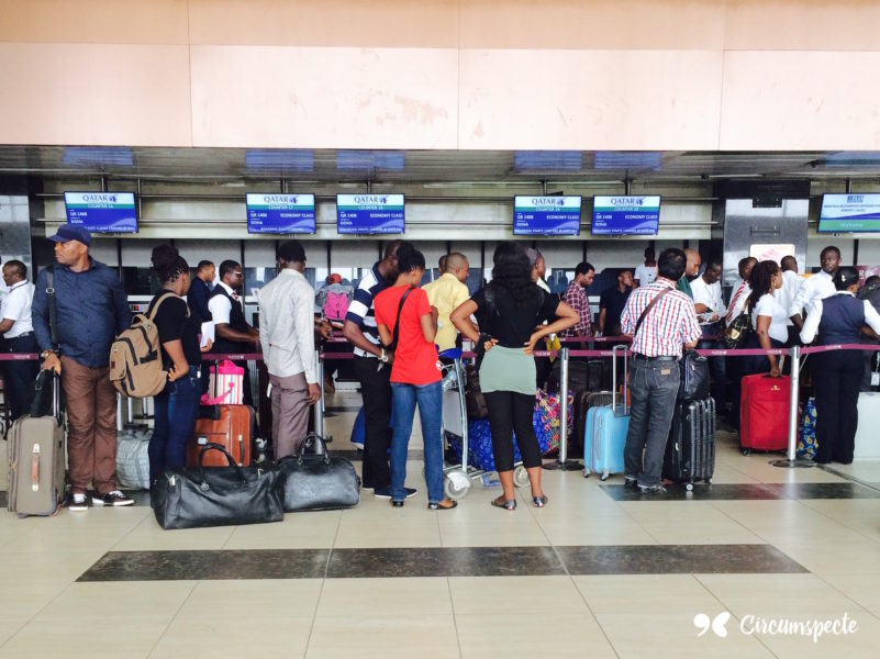 Passengers queue for check-in at the Murtala Muhammad International Airport in Lagos, Nigeria. West Africa's aviation industry is notorious for delays, cancellations and inefficiency, largely due to lack of investment.